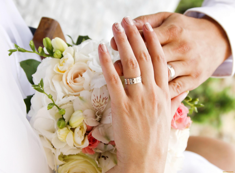 Красивое свадебное фото кольца на руках